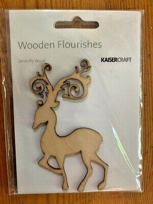 Kaisercraft Fancy Deer Wooden Flourishes, FL463, 2mm ply wood