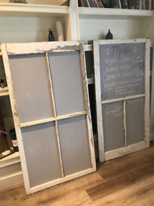Large 5 Foot Chalk Boards made From Restored Windows