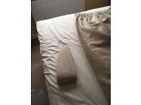 """Cream velour curtains with lining 77"""" drop 82"""" width. With tie backs. £50. B15 or B7"""