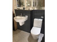 EX-DISPLAY Arco close coupled toilet and 550mm basin and half pedestal