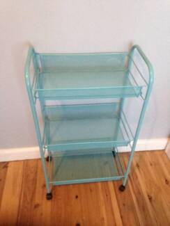 Teal Blue Wire Storage Trolley on Castor Wheels
