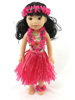 Hot Pink Hawaiian Luau Outfit Fits Wellie Wishers 14.5