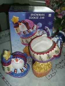 Ceramic Snowman Cookie Jar Kawartha Lakes Peterborough Area image 3