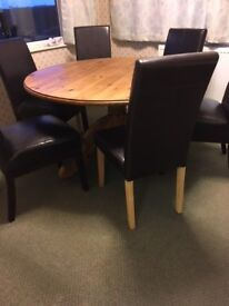 """ROUND PINE DINING TABLE 4' 6"""" DIAMETER SEATS 6 (NO CHAIRS)"""