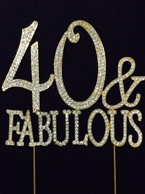 40th Birthday Party Cakes - GOLD Rhinestone 40 & FABULOUS 40th Birthday Party Cake Topper Decoration 40FG