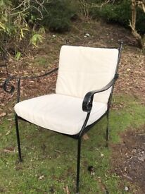 Wrought iron garden chairs with cushions x 6