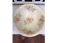 Beautiful Large *WASH BOWL* Vintage French Country Cream Floral Dish NO Jug!