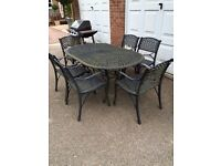 Garden Cast iron table and 6 chairs