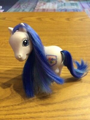 Blue And White My Little Pony (My Little Pony G3 Denim Blue White body multi color mane and tail glitter)