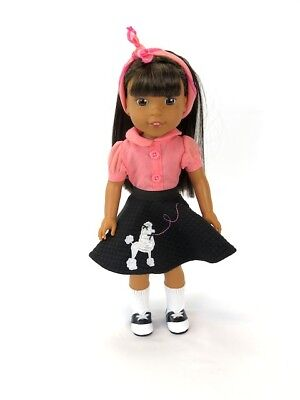 Pink and Black 50s Poodle Skirt Outfit Fits Wellie Wishers 14.5