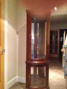 Lighted corner display cabinet