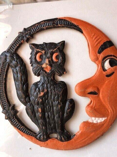 Vintage Halloween Cat and Moon Die Cut 1930