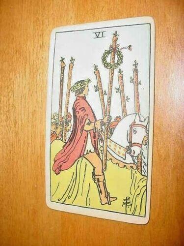 SINGLE VINTAGE TAROT CARD VI MAN ON A HORSE WITH 6 STICKS