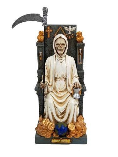 "12"" Santa Muerte Blanca White Holy Death Statue Grim Reaper on Throne"