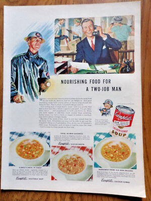 1943 Campbell's Soup Ad Two Job Man 1943 Birds Eye Vegetables Ad