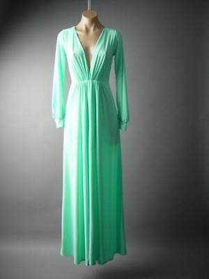 Pastel Mint Green Deep V Neck Goddess Formal Gown Long Maxi 288 mv Dress S M L