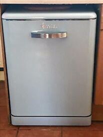 Swan retro dishwasher in powder blue