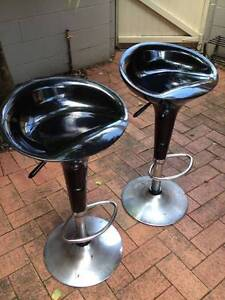 Set of 2 black adjustable bar stools Wollstonecraft North Sydney Area Preview