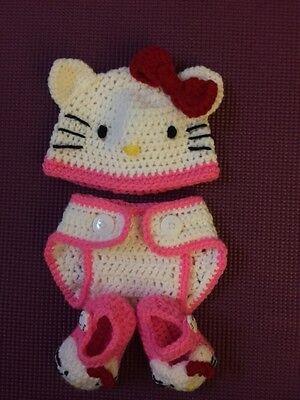 Hand Crochet  Baby Hello Kitty Hat Beanie and Booties - NEW