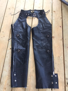 Black Leather women's motorcycle Chaps