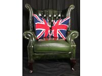 Classic Luxury Leather Handmade Chesterfield Style Green Wing High Back Armchair