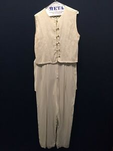 Women's White / Cream Pantsuit size 10 One piece Sequins
