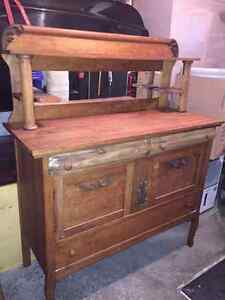 Beautiful antique wood buffet with miror
