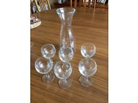 Glass carafe and 6 glasses- new and unused -£5