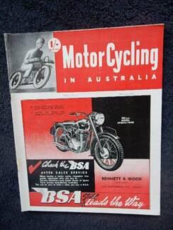 MotorCycling in Australia Aug '49, V3/N6; BSA, Vincent, Velocette