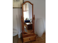 Free standing pine mirror with drawer