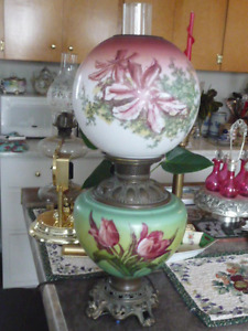 Large Beautiful Electrified Antique Double Globe Oil Lamp