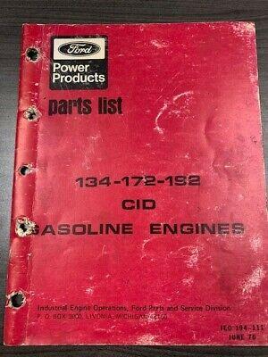 Ford 134-172-192 Cid Gasoline Engines Parts List Vintage