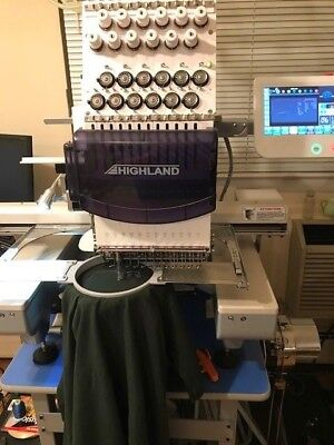 2017 12 Needle Commercial Highland Embroidery Machine, Hat Attachment and Stand