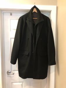 Men's black formal wool winter coat - Size 44