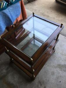 TWO SIDE TABLES, FINE WOOD WITH BRASS AND GLASS SHELVES
