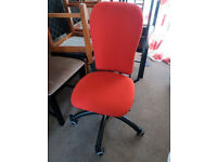 Desk office chair, good condition, padded seat and back in red material, castors, computer furniture