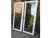 Used French Doors, White UPVC, Patio doors, includes glass.