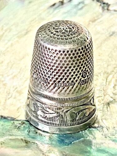 Vintage Germany Sterling Silver Thimble 6 925 Beautiful Band Design!