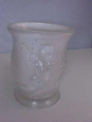 Valentine Vase Cherub Cupid Arrow Hearts 3D Frosted Glass Plastic Insert Used