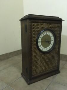 CABINET & CLOCK wood & bamboo 2 ft tall (reg $150)