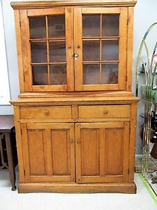 Antique Primitive Pine Step Back Flat to the Wall Cupboard