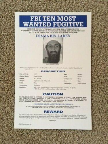 Original FBI Wanted Poster Usama Bin Laden (Osama)