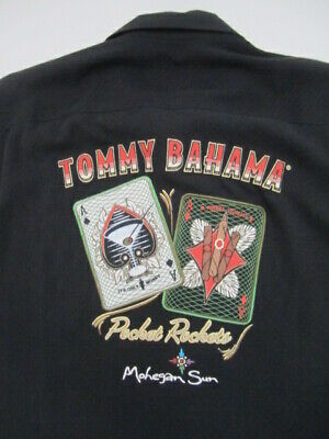 Silk Blend Camp Shirt - Mens Large Tommy Bahama Pocket Rockets black silk blend camp shirt Mohegan Sun