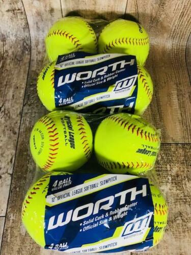 "Worth 12"" Slow Pitch Softballs 8 Pack Safety Yellow Free Shipping"