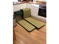 2x garden lounger seat cushions