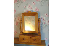 Solid pine dressing table mirror with two drawers