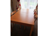 Stylish Ikea Bjursta dining table & 4 chairs, large extending, from pet/smoke free home, study desk