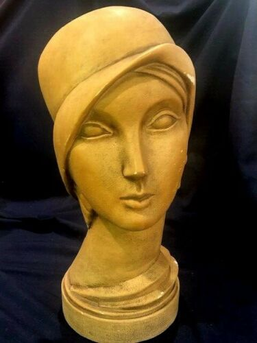 15 1/2 inch Art Deco mannequin head with stylized hat and jewelry  plaster