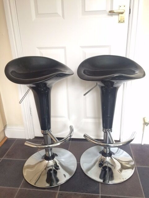 2 X Black And Chrome Height Adjustable Kitchen Stools In Hessle East Yorks