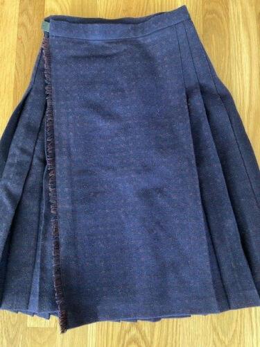 Vintage LAURA ASHLEY girls wool skirt kilt 9-10 years navy blue Classic dress
